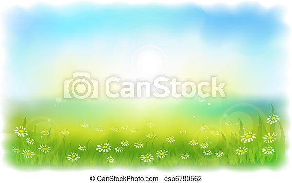 Sun-drenched meadow with daisies. Sunny summer day outdoors. - csp6780562