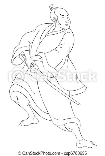 Samurai warrior with katana sword fighting stance - csp6780635