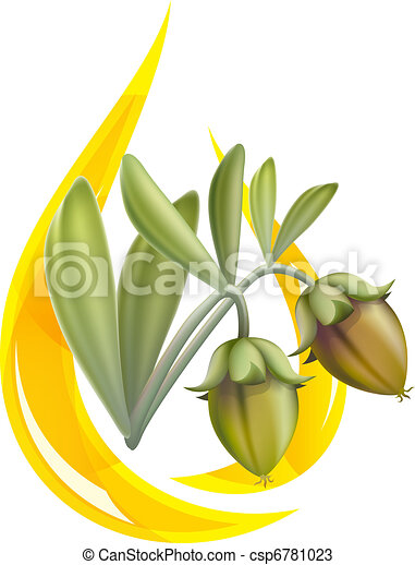 Jojoba oil. Stylized drop. - csp6781023