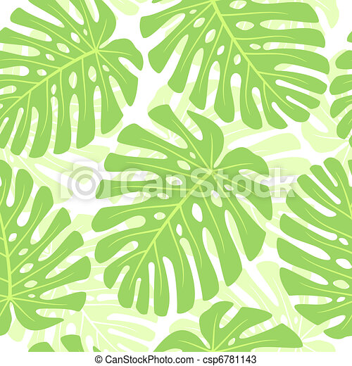 Leaves of tropical plant - Monstera. Seamless vector background. - csp6781143