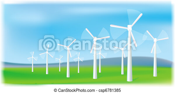 Wind turbines farm. Alternative energy source. - csp6781385