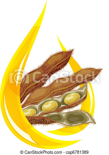 Soybean oil. Stylized drop of oil and soybean pod. - csp6781389