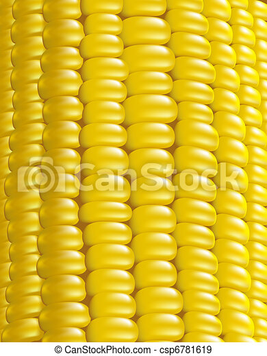Ripe corn. Fragment. Vector illustration macro. - csp6781619