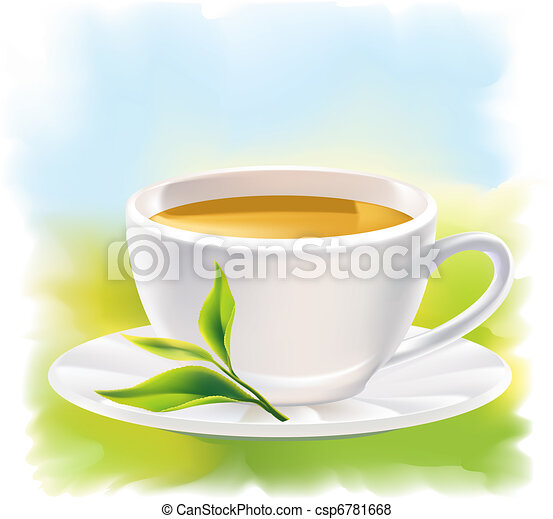 Cup of tea and a natural green leaf - csp6781668