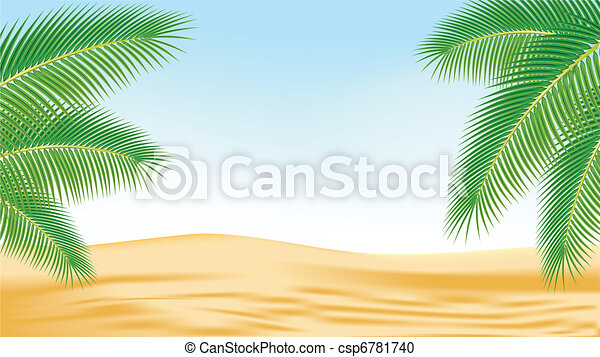 Branches of palm trees against the backdrop of the desert. - csp6781740