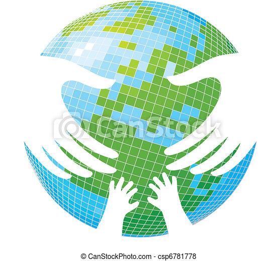 Earth. Hands of parents and children. - csp6781778