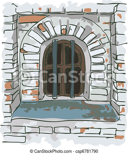 Window with bars in the old jail. - csp6781790