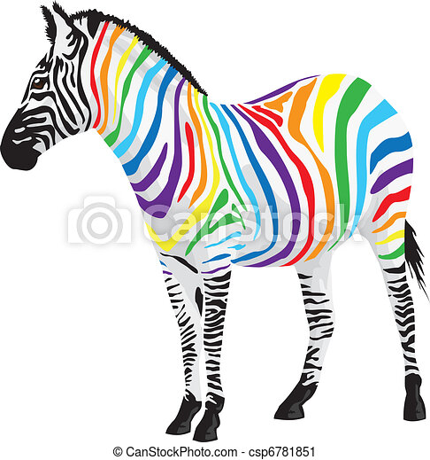 Zebra. Strips of different colors. - csp6781851