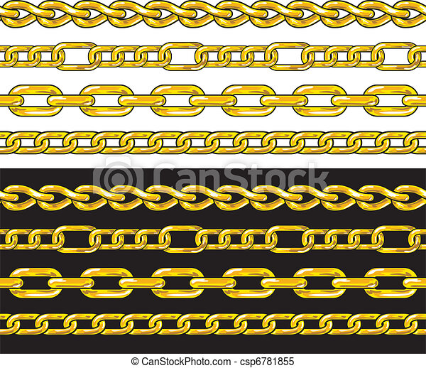 Gold chain. Seamless Borders set. - csp6781855