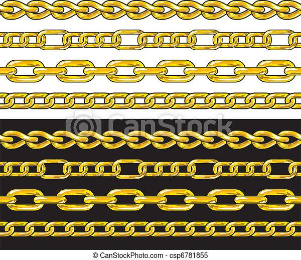 Gold chain. Seamless Borders set. - csp6781855