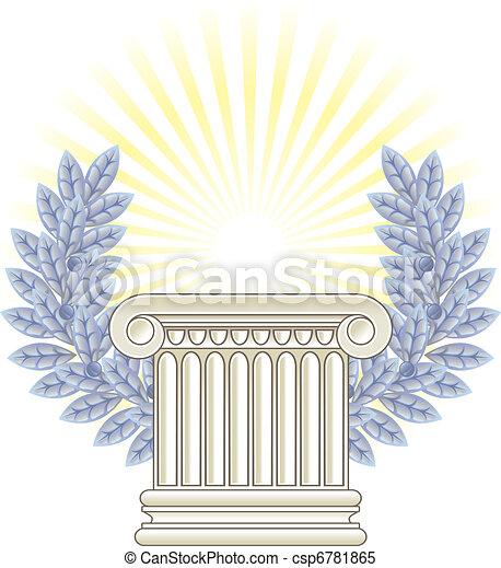 Antique Greek Column and silver Laurel. - csp6781865