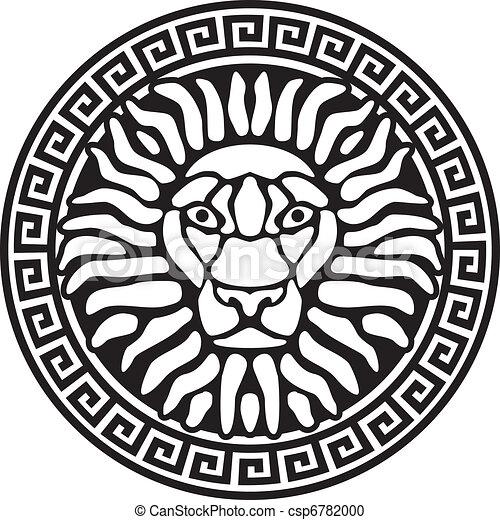 Portrait of a lion, and meanders. Antique relief. - csp6782000