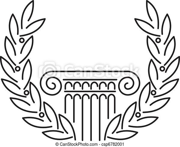 Antique Greek Column and Laurel - csp6782001