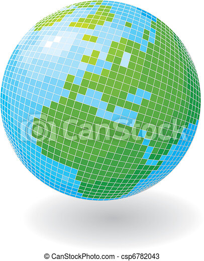 Globe in the form of a disco ball. - csp6782043