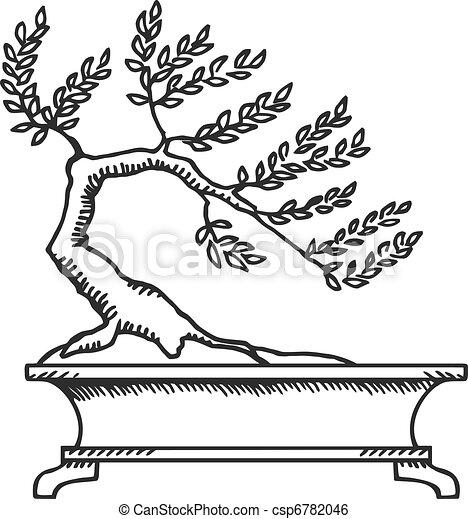 Clip art vecteur de bonsai croquis bonsai noir et - Dessin bonzai ...
