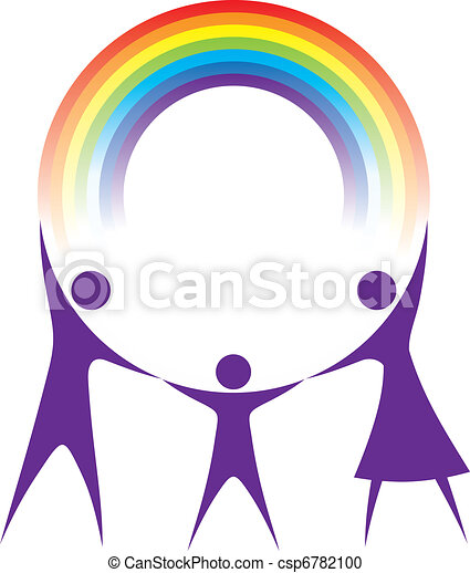 Happy family holding a rainbow in your hands. - csp6782100