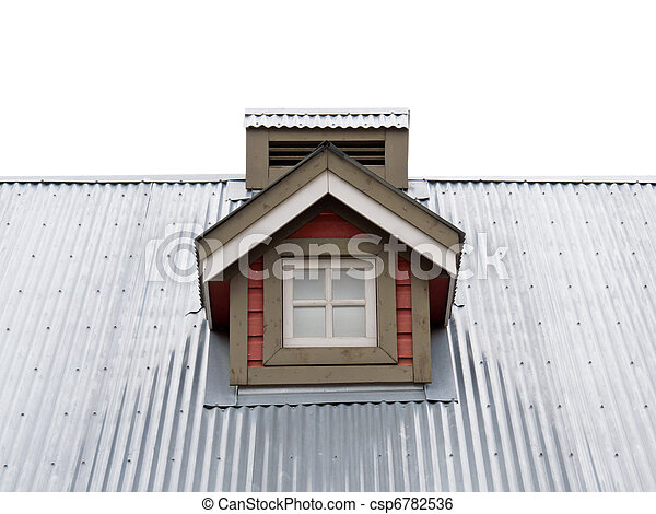 Small Dormer Window in metal roof - csp6782536
