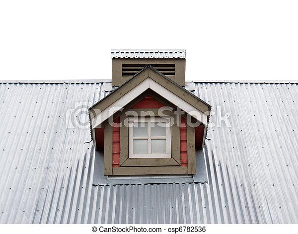 Small Dormer Window in metal roof - csp6782536