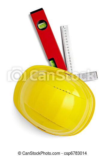 construction helmet protective workwear ruler level - csp6783014