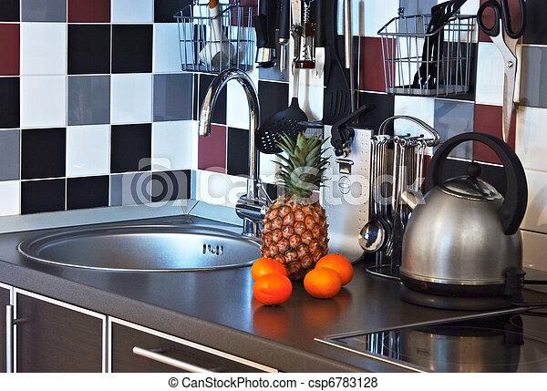 Fotos de modernos cozinha fim cima tabela com pia e for Utensilios modernos