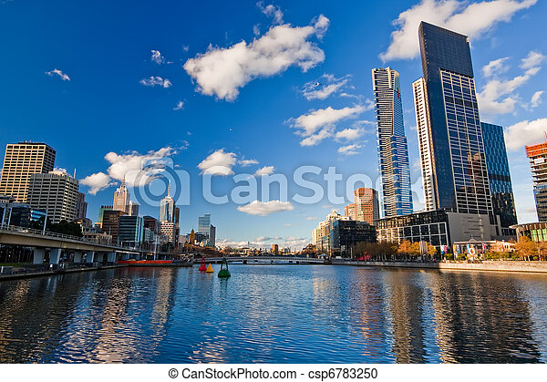 Melbourne, Skyscrapers on Yarra River - csp6783250