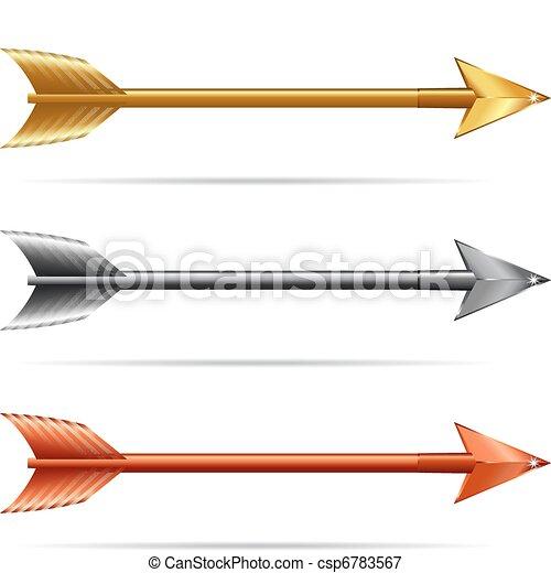 Three Arrows - Gold Silver & Bronze - csp6783567