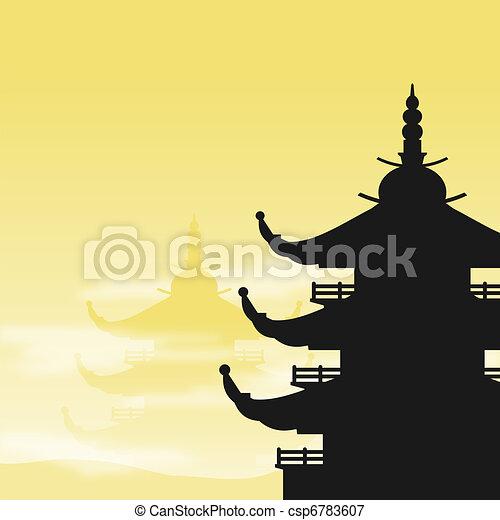 Pagoda Silhouette at Dawn - csp6783607
