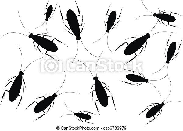 vecteurs eps de cafards blanc noir isol fond noir cafards isol csp6783979. Black Bedroom Furniture Sets. Home Design Ideas