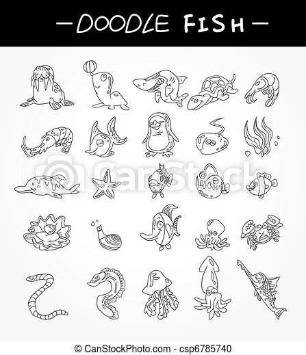 hand draw aquarium fish icons set - csp6785740