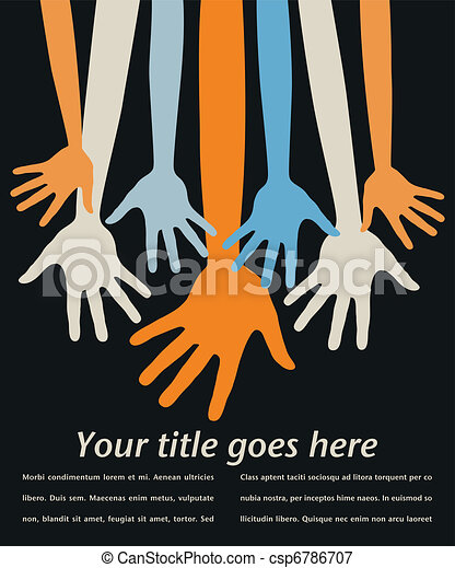 Youthful reaching hands vector.  - csp6786707