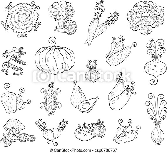 Doodle fruits, vegetables - csp6786767