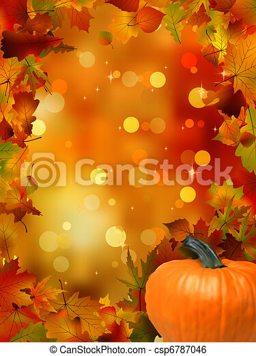 Autumn Pumpkins and leaves. EPS 8 - csp6787046