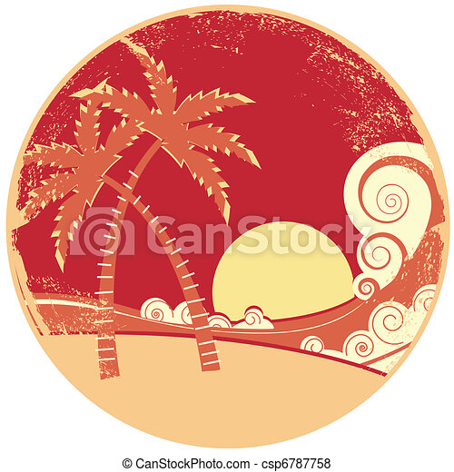 sea waves and island. Vector vintage graphic illustration of water seascape - csp6787758