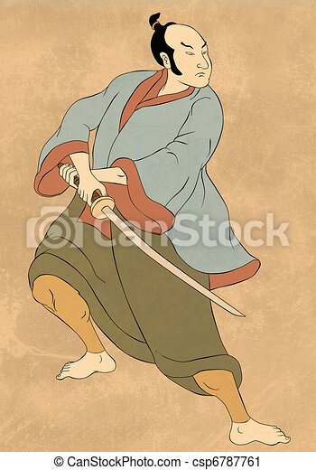 Samurai warrior with katana sword fighting stance - csp6787761