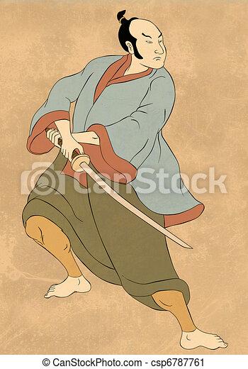Samurai warrior with katana sword fighting stance - csp6787761