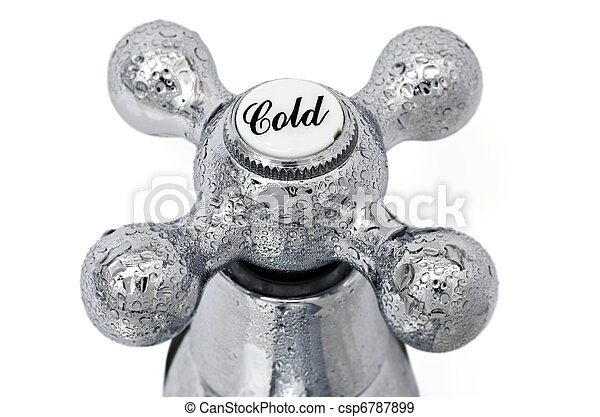 Cold tap; close-up image of cold tap or faucet, covered with condensation - csp6787899