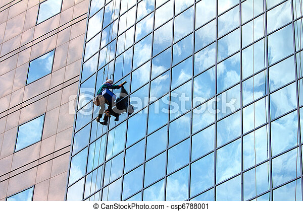 window cleaner at work - csp6788001