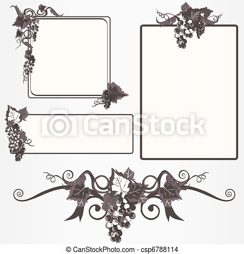 Ornate frame set with grapes - csp6788114