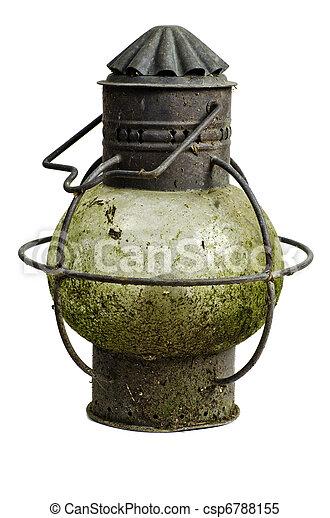 Antique ship's copper anchor light; very corroded vintage kerosene lamp; isolated on white ground - csp6788155