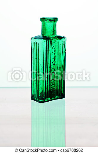 Vintage medicine bottles; blue and green poison bottles, isolated on white ground; moulded into the glass is the legend,