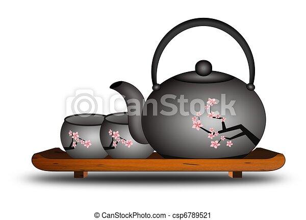 Clipart of Japanese Chinese Asian Tea Set - Illustration ...