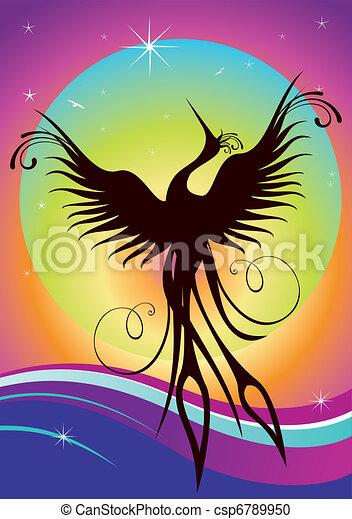 Phoenix bird silhouette re-birth - csp6789950