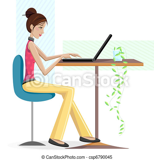 Lady Working on Laptop - csp6790045