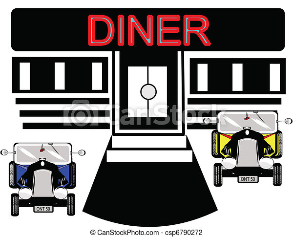 diner with hot rods in front parked - csp6790272