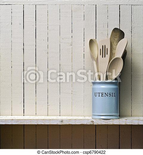 Stock foto van keuken het koken gereedschap houten spatels enz in csp6790422 zoek - Plank keuken opslag ...