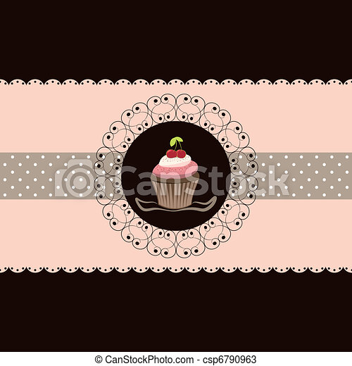 Cherry cupcake invitation card - csp6790963