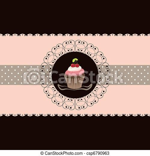 Cherry cupcake invitation card - csp6790963