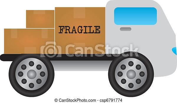 cartoon truck with merchandise - csp6791774