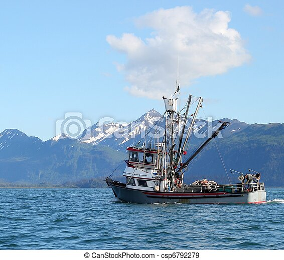 Alaskan fishing boat heading out to - csp6792279