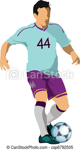 Soccer players. Colored Vector ill - csp6792505